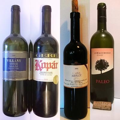Cabernet franc 200 - Gere Weninger, Kopar 200 - Gere (Villany), Merlot 2005 Capris special selection - Vinakoper, Paleo 2007 cabewrnet franc - le Macciole Toscana