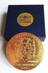 Medalja Challenge International du Vin 2016 sa prikazom stabla obilja  koju sam primio kao počasni gost
