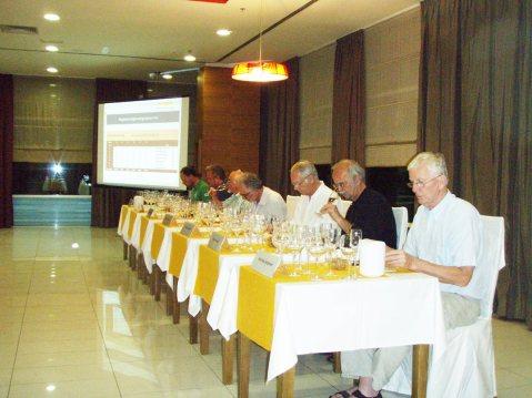 Žiri profesora u radu (gore), te, lijevo, nakon što je ocjenjivanje završeno predsjednik žirija Željko Suhadolnik komentirao je vina