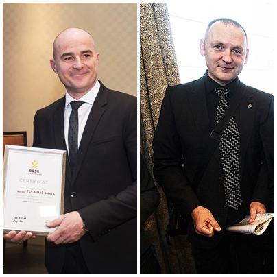 Glavni direktor hotel Esplanade Ivica Max Krizmanić s netom primljenim certifikatom gluten-free standard (lijevo) i doc dr. sc. Dražen Lušić s Medicinskog fakulteta Sveučilišta u Rijeci