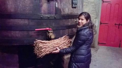 Osobito ljubazna vodičica Elvira Diez del Sel, u dijelu podruma Lopez Heredia koji prikazuje dalju prošlost, s naramkom grančica vinove loze što se, pri remontažama nekad koristio kao svojevrsni filter za krutu tvar