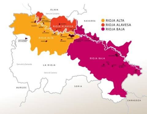 U vinogradarskome kontekstu Rioja se dijeli na tri cjeline Rioja alavesa, Rioja alta i Rioja baja. Najbolja su vina iz Rioje alavese i Rioje alte